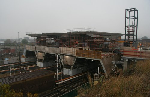 Half of the tracks for moving the roof into place now removed