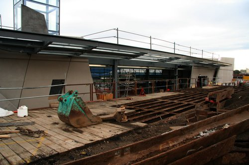 Steel deck was to protect gas mains underneath from the heavy crane