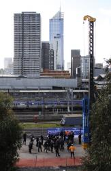 Melbourne CBD skyline in the background