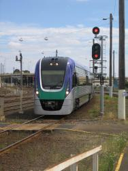 Geelong line VLocity launch: VL23 on the front of the train, arriving at Geelong