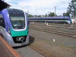 Geelong line VLocity launch: VL07 at the rear, opposite VL03 in the yard
