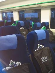 Geelong line VLocity launch: Showbags laid out for the paying passengers