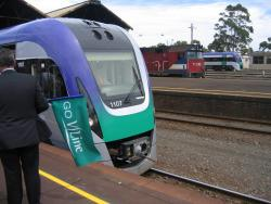 Geelong line VLocity launch: N469 arrives into platform 3