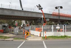 Werribee Street level crossing removal project: Pedestrian pathway beneath the worksite