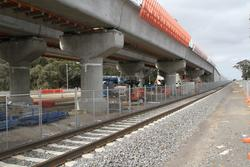 Werribee Street level crossing removal project: Looking down the temporary SG track slew to the north of the worksite, allowing trains to still run