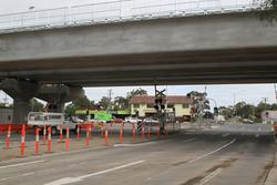 Werribee Street level crossing removal project: Temporary level crossing on the slewed standard gauge gauge