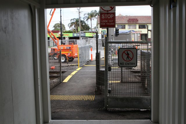 ISO containers used to provide a safe pathway for pedestrians through the work site