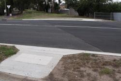 New pedestrian crossing ramps at Thompson Road