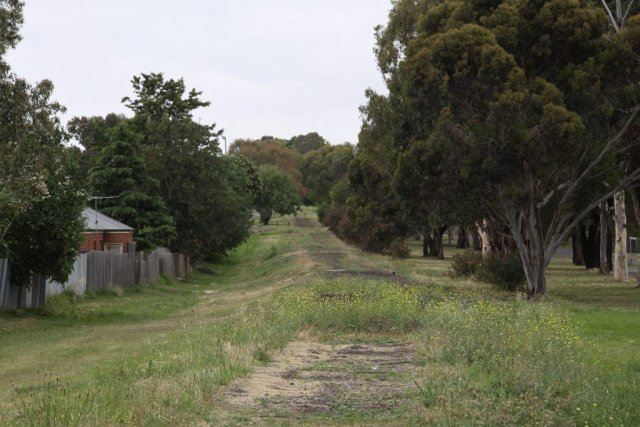 Looking down the line from the former Midland Highway level crossing