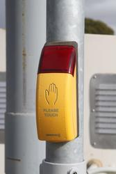 'Swarco' pedestrian push button fitted to the 'VaMoS' crossing system