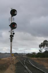 Dual gauge signal at the down end of North Geelong Yard