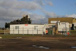 Site huts outside North Geelong Yard
