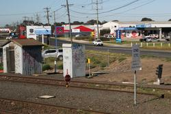 North Geelong C: Broad gauge sidings booked out of use with STOP boards at Thompson Road