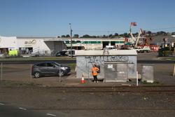 North Geelong C: Safeworking staff manually trigger the level crossing at Thompson Road