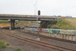 North Geelong C: Signal 72/6 dark and with a black 'X' fitted during commissioning work at North Geelong C