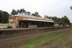 Station building from across the tracks