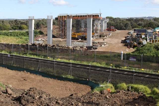 Piers well underway on the section of bridge between the Barwon River and the railway