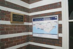 Plaque marking anniversary of the line opening