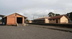 Station building and goods shed from the up end