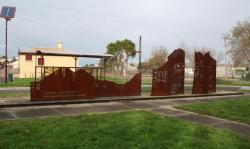 Sculpture marking the narrow gauge Colac - Beech Forest - Crowes line