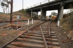 Corio Quay: Work on new track looking to the mainline