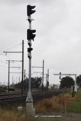 Yet to be commissioned signalling for down trains at the siding