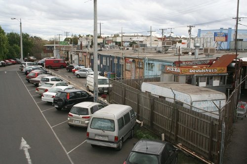 Shops along the western side of the station, along Irving Street