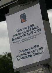 Closure of the northern carpark for construction of the new footbridge