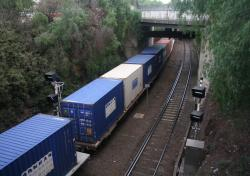 Freight train stopped in the Bunbury Street tunnel