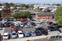 Rather large car park along the Irving Street frontage of the station