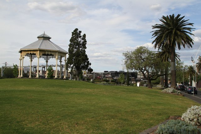 Restored rotunda in the railway gardens at Footscray