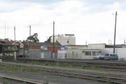 Geelong Signal Control Centre: Temporary building with the relay room and Geelong 'A' in the background