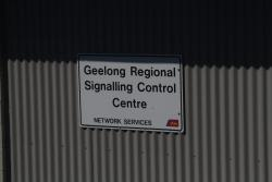 'Geelong Regional Signalling Control Centre' sign on the side of the building