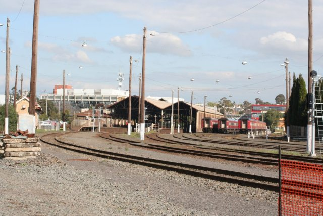Overview of Geelong station and carriage yards