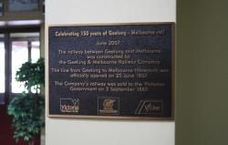 Plaque marking 150 years of the Geelong line