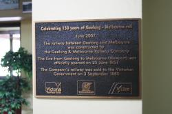 Plaque marking 150th anniversary of the line