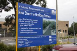 Geelong Station: Government signage spruiking the new road entry to the station from Mercer Street