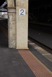 Geelong Station: Thunk! This tactile paving is the blind leading the blind right into a pilar