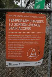 Signage regarding the new pedestrian bridge to platform 2 and 3