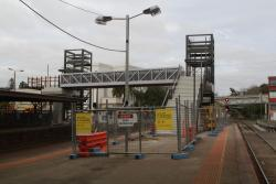 New pedestrian bridge to platform 2 and 3 taking shape at the down end