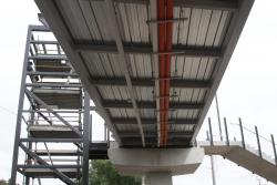 Underside of the new footbridge leading to platforms 2 and 3