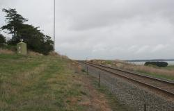 Looking down the line from the Colac - Ballarat Road level crossing