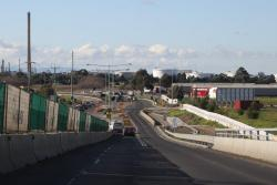 Eastbound on the first half of the bridge to be completed