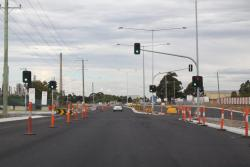 Traffic lights at the eastern end still needing some finishing touches