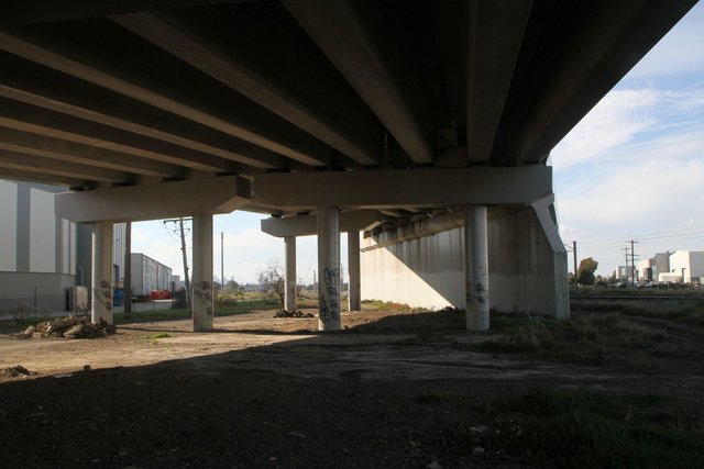 Underneath the western approach span of the bridge