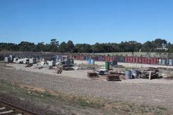 Pile of junk at the V/Line works depot beside the railway at Lara
