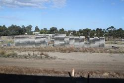 Stockpile of concrete sleepers in the V/Line compound at Lara