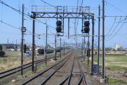 Laverton Junction crossover, taking up trains from the East line to the West line, and hence the Altona line