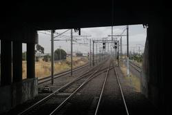 Crossover from the West to East line at the up end of Laverton station