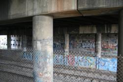 Under the Princes Freeway underpass